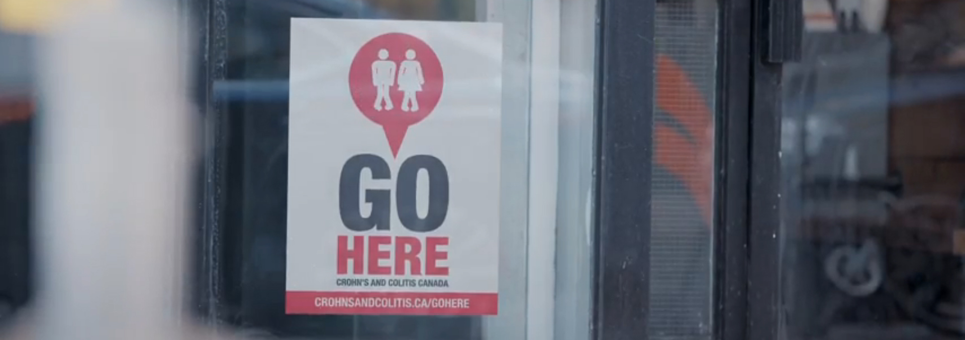 GoHere decal in store window