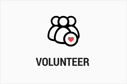 Volunteer with heart wordmark